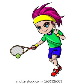 cartoon boy playing tennis ball