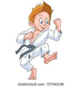 Cartoon boy practicing karate. Colorful book page design for kids and children.
