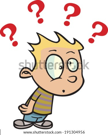 cartoon boy question marks above his stock vector royalty free