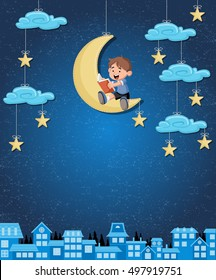 Cartoon boy reading a book on the moon. Sky with moon, stars and clouds hanging on strings over the city.