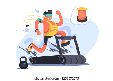 Cartoon boy running on treadmill. Young man in sportswear doing exercises on speedwalk at gym vector illustration. Athlete dreams of perfect press flat concept
