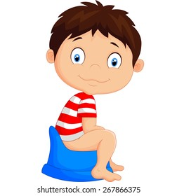 Cartoon Boy Sitting On The Potty