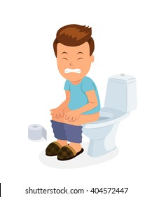 Cartoon boy sitting on the toilet with stomach upset and diarrhea. Isolated vector character of male sitting on the toilet.