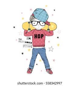cartoon boy with skateboard , kid illustration