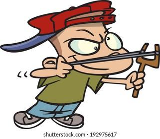 cartoon boy with a slingshot