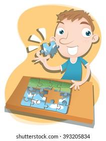 Cartoon boy solving jigsaw puzzle.