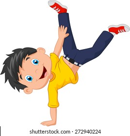Cartoon boy standing on his hands