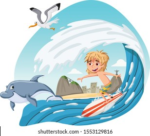 Cartoon boy surfing a big wave. Teenager riding a surfboard on a wave on Rio de Janeiro, Brazil.