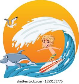 Cartoon boy surfing a big wave. Teenager riding a surfboard.