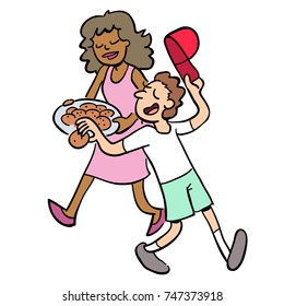 Cartoon of boy taking a cookie from a platter carried by a woman.