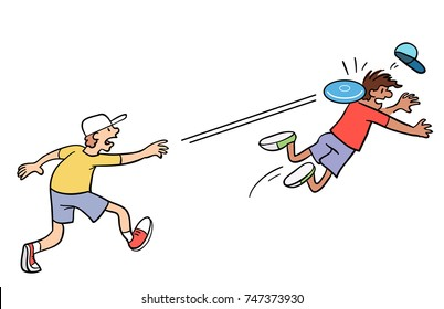 Cartoon of a boy throwing a flying disc and accidentally hitting someone else.