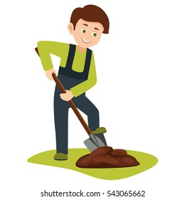 cartoon boy volunteer with a shovel digging the ground for planting trees