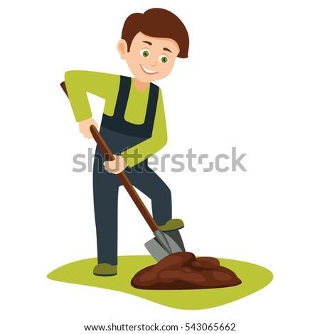 cartoon boy volunteer shovel digging ground stock vector royalty