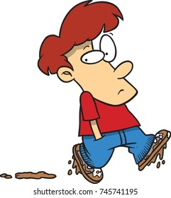 cartoon boy walking with muddy shoes