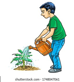 Cartoon a boy watering the tree