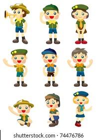 cartoon boy/girl scout icon