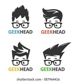 Faccia nerd del ragazzo dei cartoni animati con gli occhiali. Set di icone vettoriali di computer geek. Logo per applicazioni didattiche o scientifiche e siti web.