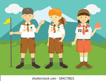 Cartoon Boys and Girl Scouts