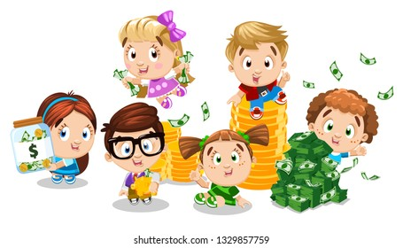 Cartoon boys, girls hold money jar with dollar, piggy bank, sit, jump near coins, banknotes. Concept of commercial education, financial literacy. Children study putting money away, do shopping.