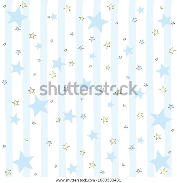 Cartoon boys seamless pattern with blue stars. Vector illustration.