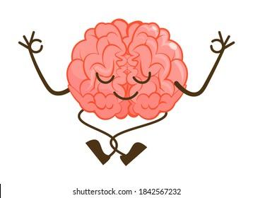 Cartoon brain character meditation in lotus pose on white