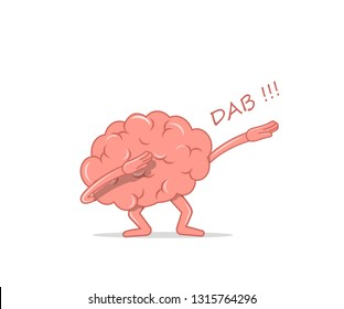 Cartoon brain dancing dab. Isolated character brain the dancing quirky for hype. Vector illustration in flat style.