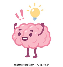 Cartoon brain with happy face and lightbulb, creative idea drawing. Cute brain character vector illustration.