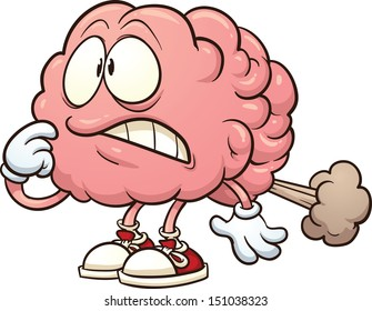 Cartoon brain having a brain fart. Vector clip art illustration with simple gradients. All in a single layer.