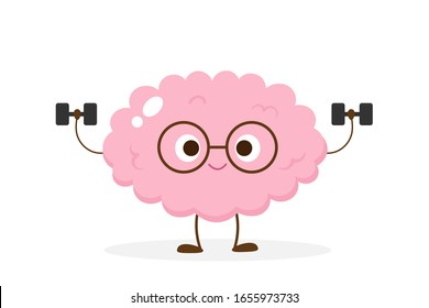 Cartoon brain lifting dumbbells. Funny brain workout emoji vector. Mind exercise, memory, willpower and concentration training.
