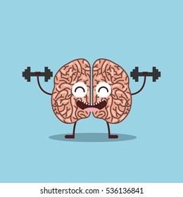 cartoon brain lifting weights icon over blue background. colorful design. vector illustration