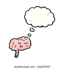 cartoon brain with thought bubble