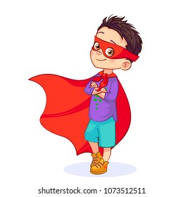 Cartoon brave Super boy stands in a confident pose, arms crossed over his chest. Little boy in Super hero costume, mask on his face, developing red cloak. Colorful vector isolated kids illustration.