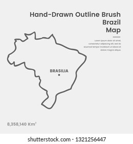 Cartoon Brazil Map, Hand Drawn Brazil Map, Doodle Brazil Map Vector Outline Style Map Information