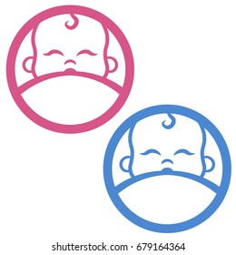 Cartoon breastfeeding vector logo. Colorful pink and blue hand drawn vector logo of a baby sucking mother's breast. Breastfeeding day.