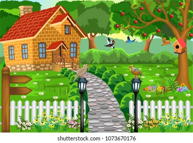 cartoon brick house in the middle of nature, with stone path, courtyard and fence