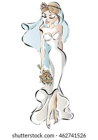 Cartoon bride with flowers hand drawn vector illustration