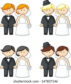 Cartoon brides and grooms. Vector illustration