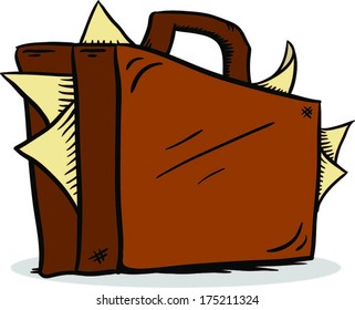 Cartoon briefcase with papers sticking out
