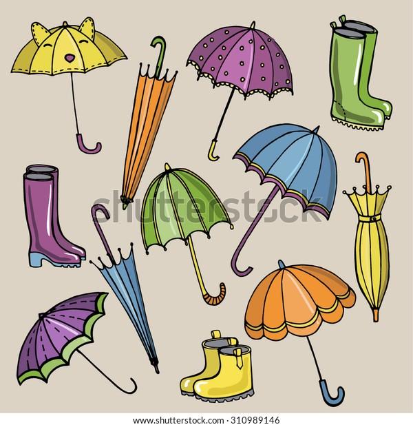3d43408fa4 Cartoon Bright Accessories Rainy Weather Umbrellas Stock Vector ...