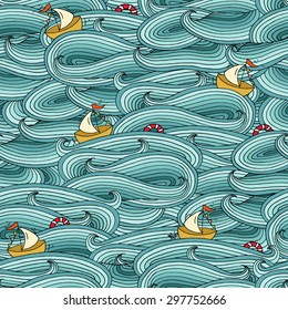 Cartoon bright seamless pattern with ship, lifebuoy sails on the sea . Can be used for wallpaper, web page background, kid textures. Hand-drawn ocean vector illustration with decorative blue waves.