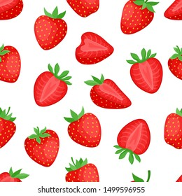 Cartoon bright strawberries seamless pattern isolated on white. Vector background of fresh farm organic berry used for magazine, book,card, menu cover, web pages.