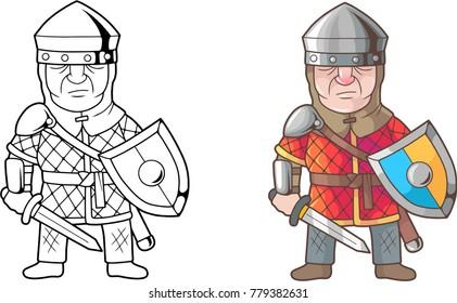 cartoon british medieval warrior, coloring book