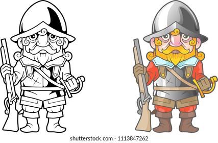 cartoon British soldier, funny illustration, coloring book