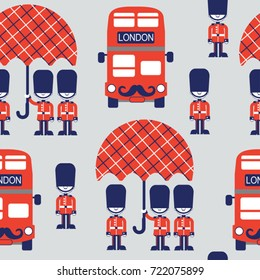 cartoon british vector seamless pattern with queen's guard and red bus