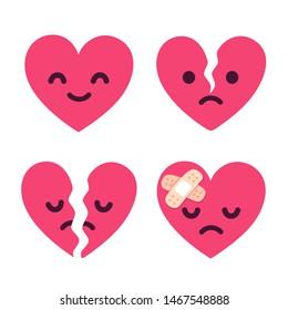 Cartoon broken heart fixed with bandage. Cute sad face character set, breakup and heartbreak vector illustration.