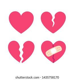 Cartoon broken heart set, crack fixed with bandage. Breakup and heartbreak symbol. Simple flat vector style clip art illustration.
