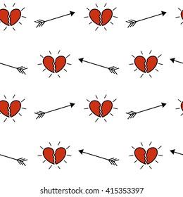 cartoon broken hearts seamless vector pattern background illustration