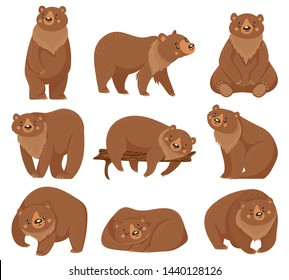 Cartoon brown bear. Grizzly bears, wild nature forest predator animals and sitting bear. Fur brown predator, wildlife bears mammal. Isolated vector illustration icons set