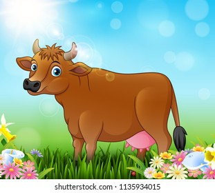 Cartoon brown cow with nature background
