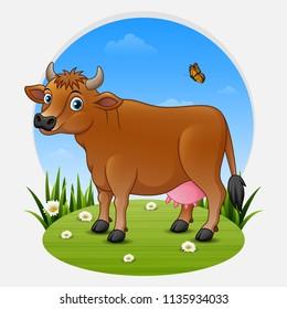 Cartoon brown cow on green meadow